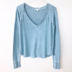 Standard James Perse Blue Long Sleeve V-Neck Top